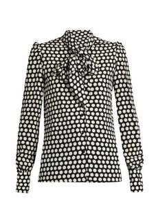 Yves Saint Laurent Saint Laurent Pussybow-neck silk crepe de Chine blouse