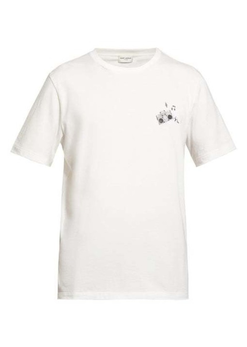 Yves Saint Laurent Saint Laurent Radio-print cotton-jersey T-shirt