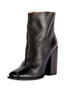 Yves Saint Laurent Saint Laurent Raw-Edge Leather Block-Heel Boot
