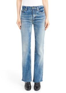 Yves Saint Laurent Saint Laurent Raw Hem Flare Jeans (Dirty Vintage Blue)