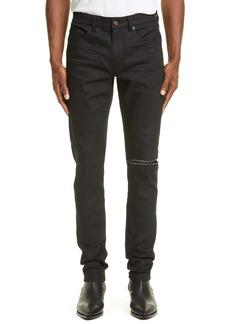 Yves Saint Laurent Saint Laurent Ripped Black Skinny Fit Jeans