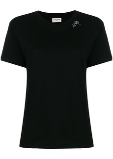 Yves Saint Laurent Saint Laurent rose print T-shirt - Black