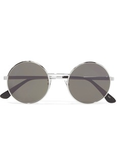 Yves Saint Laurent Round-frame silver-tone sunglasses