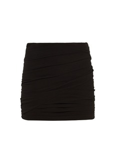 Saint Laurent Ruched silk-georgette mini skirt