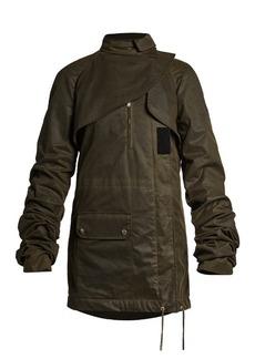 Saint Laurent Ruched-sleeve asymmetric waxed-cotton parka
