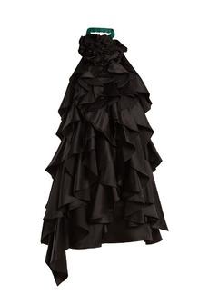 Saint Laurent Ruffle-embellished open-back halterneck silk dress