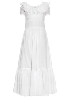 Yves Saint Laurent Saint Laurent Ruffle-trimmed cotton-organza maxi dress