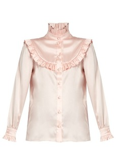 Saint Laurent Ruffle-trimmed silk-satin blouse