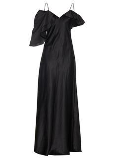 Saint Laurent Ruffle-trimmed silk-satin gown