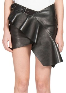 Yves Saint Laurent Saint Laurent Ruffled Leather Mini Skirt