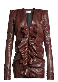 Saint Laurent Ruffled-panel leather mini dress