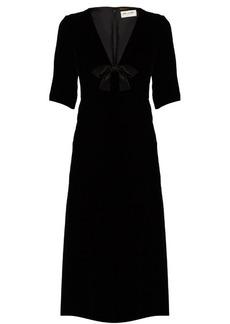 Yves Saint Laurent Saint Laurent Satin-bow velvet midi dress