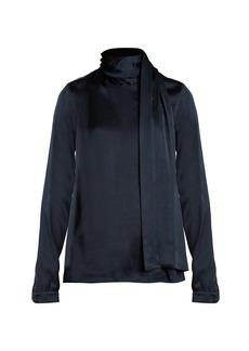 Saint Laurent Scarf-detail satin blouse