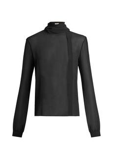 Yves Saint Laurent Saint Laurent Scarf-detail silk-georgette blouse