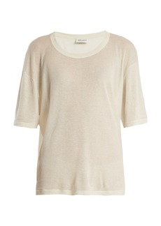 Saint Laurent Scoop-neck cotton-blend T-shirt