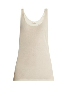 Saint Laurent Scoop-neck cotton-blend tank top