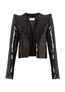 Saint Laurent Sequin-embellished cropped jacket