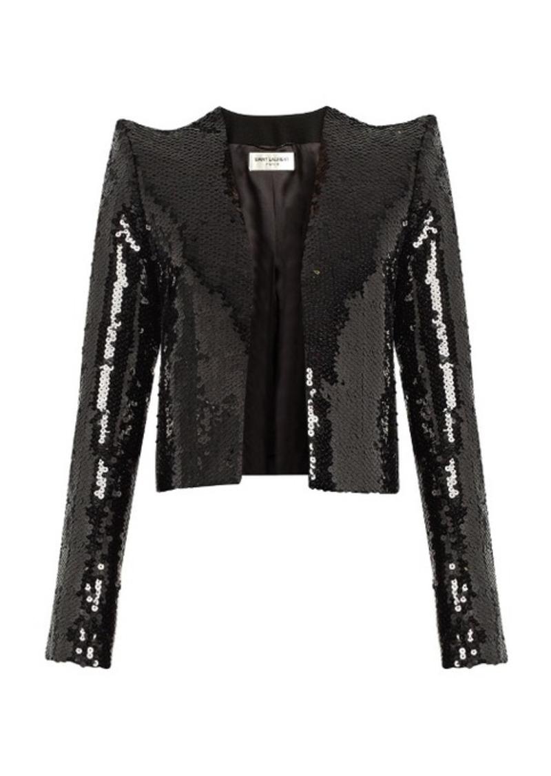a0cc6e56f7b Saint Laurent Saint Laurent Sequin-embellished cropped jacket Now ...