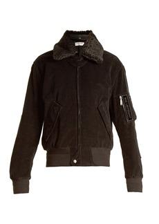 Saint Laurent Shearling-collar cotton-corduroy jacket