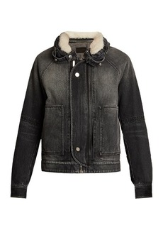 Saint Laurent Shearling-collar oversized denim jacket