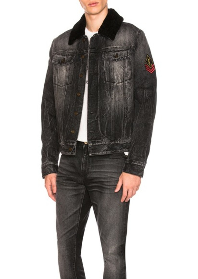 how to find latest sale shades of Saint Laurent Shearling Trim Denim Jacket