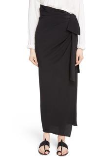 Saint Laurent Side Tie Silk Crêpe de Chine Maxi Skirt