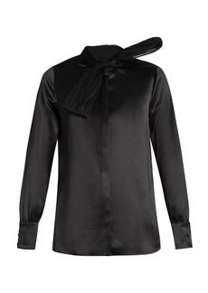 Saint Laurent Silk and tulle-bow shirt
