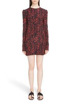 Yves Saint Laurent Saint Laurent Silk Crêpe de Chine Leopard Print Shift Dress