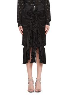 Yves Saint Laurent Saint Laurent Silk Satin Ruffle-Front Skirt