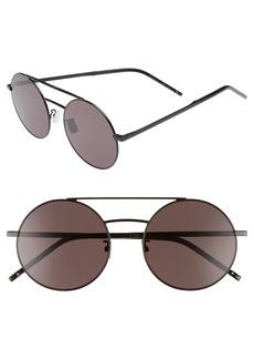 Yves Saint Laurent Saint Laurent SL 210/F 56mm Round Aviator Sunglasses