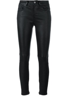 Saint Laurent slim fit leather trousers - Black