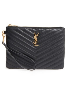 Yves Saint Laurent Saint Laurent 'Small Monogram' Print Leather Wristlet