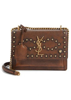 Yves Saint Laurent Saint Laurent Small Sunset Studded Vintage Leather Shoulder Bag