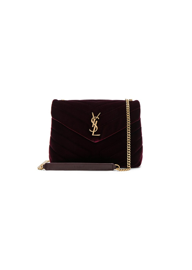 f5adbe78f5 Saint Laurent Small Velvet Monogramme Loulou Chain Bag