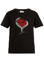 Yves saint laurent saint laurent snake and heart print cotton jersey t shirt abvda6934e8 a