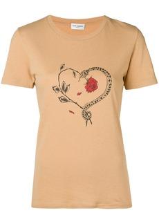 Yves Saint Laurent Saint Laurent snake heart print T-shirt - Nude & Neutrals