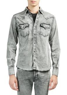 Yves Saint Laurent Snow Washed Cotton Button-Down Shirt