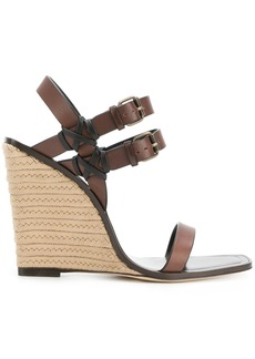 Yves Saint Laurent Saint Laurent stacked heel wedge sandals - Brown