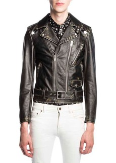 Yves Saint Laurent Saint Laurent Star-Painted Distressed Leather Moto Jacket