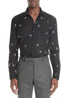 Yves Saint Laurent Saint Laurent Star Print Semi Sheer Wool Sport Shirt