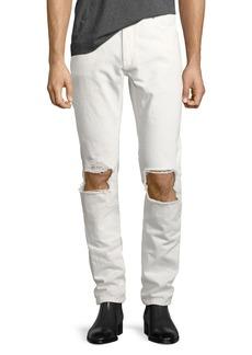 Yves Saint Laurent Saint Laurent Stone-Wash Blowout-Knee Straight-Leg Jeans