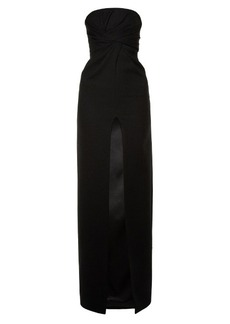 Saint Laurent Strapless cut-out slit gown