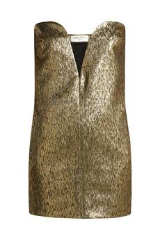 Saint Laurent Strapless wool and silk-blend jacquard mini dress