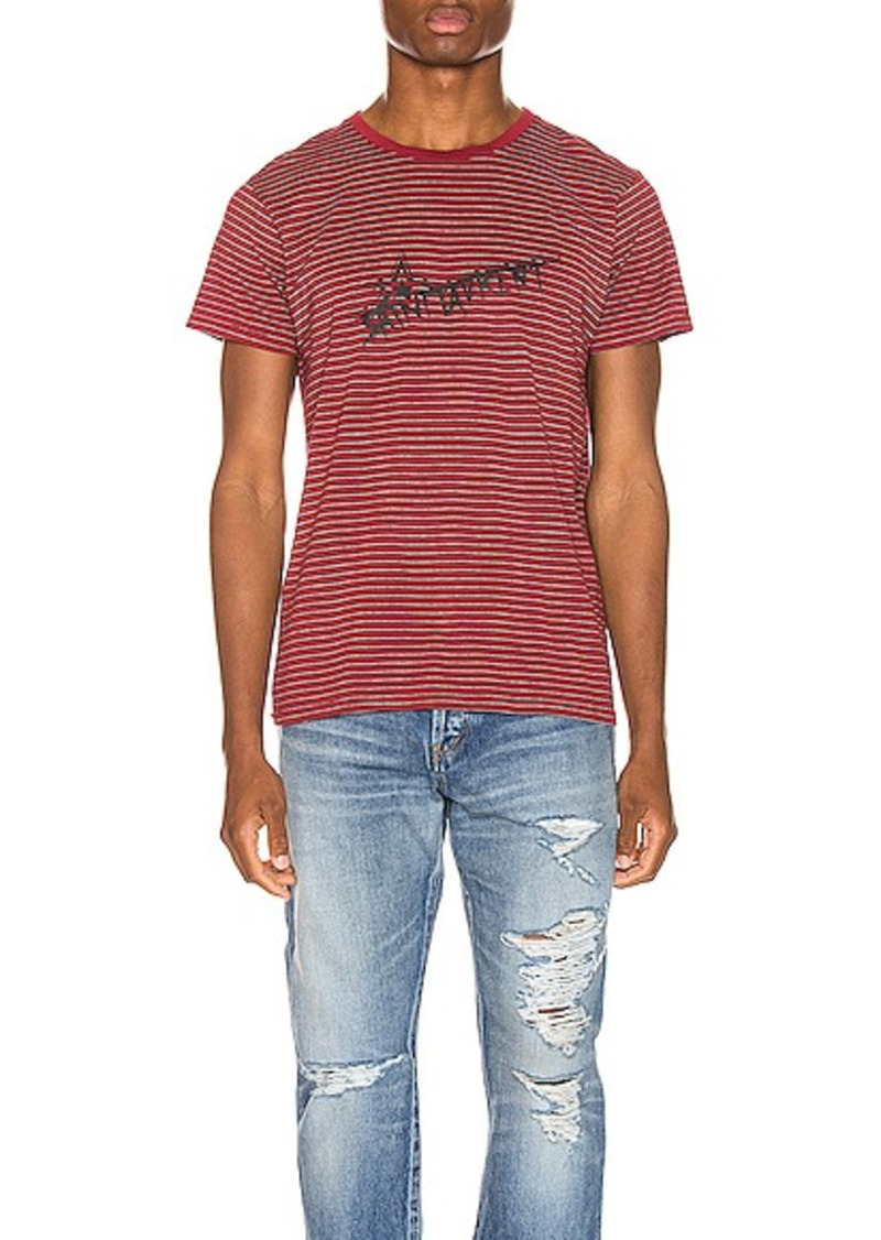 Yves Saint Laurent Saint Laurent Stripe Logo Tee