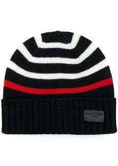 Yves Saint Laurent Saint Laurent striped knitted beanie - Black