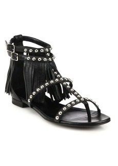 Yves Saint Laurent Saint Laurent Studded Leather Fringe-Trimmed Sandals