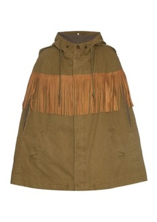 Yves Saint Laurent Saint Laurent Suede-fringed cotton-canvas cape