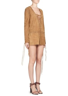 Saint Laurent Suede Lace-Up Mini Dress