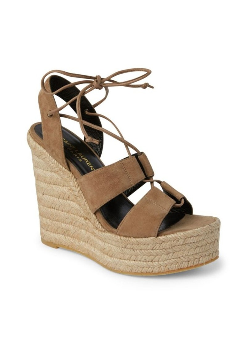 7c2db2a401fb Saint Laurent SAINT LAURENT Suede Lace-Up Espadrille Platform Wedge ...