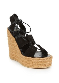 Yves Saint Laurent Saint Laurent Suede Lace-Up Espadrille Platform Wedge Sandals